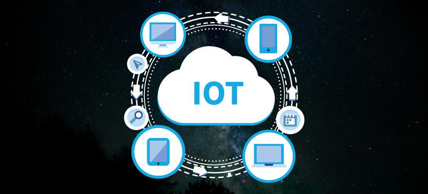 "a circle with computer and cellphone icons around it and in the middle a white cloud with the writing ""IOT"" inside"