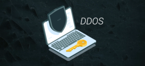 computer with a key symbolizing DDOS protection