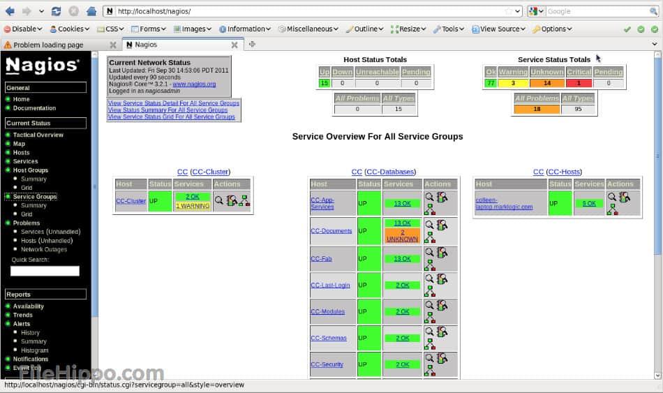 Nagios interface - Nagios vs Zabbix